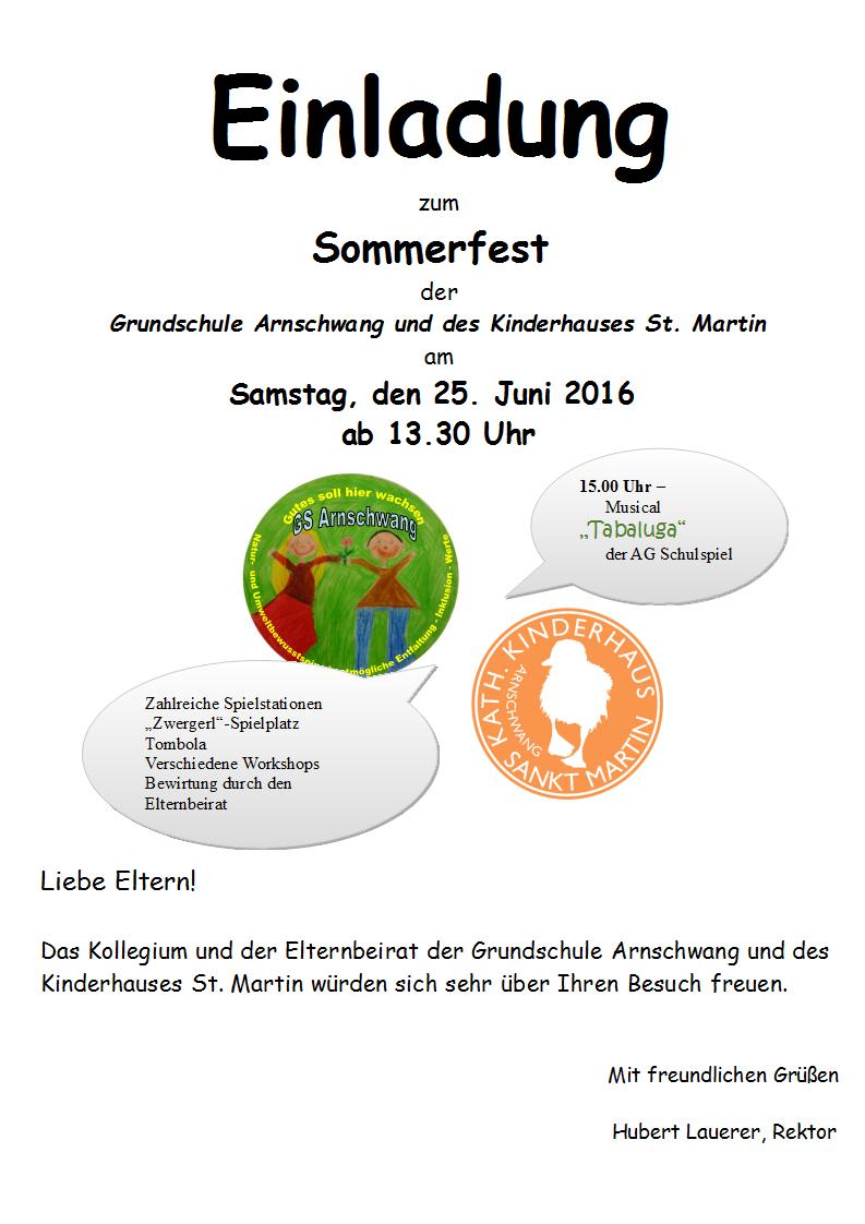 EinladungElternSommerfest